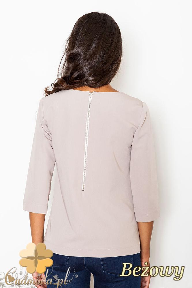 CM2086 Stylowa bluzka z zamkiem na piersi - beżowa