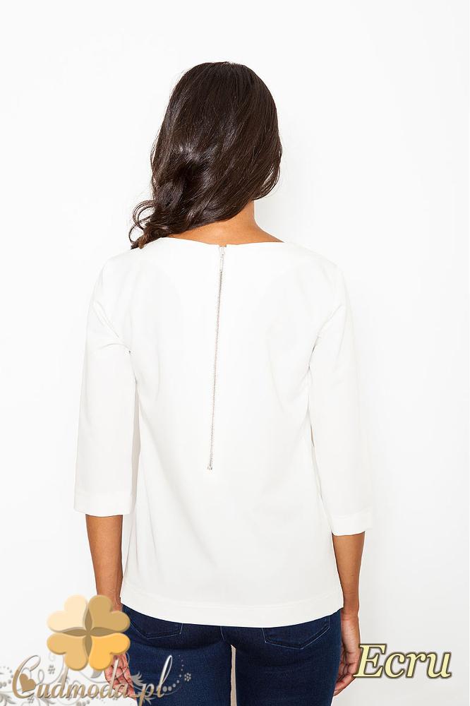 CM2086 Stylowa bluzka z zamkiem na piersi - ecru