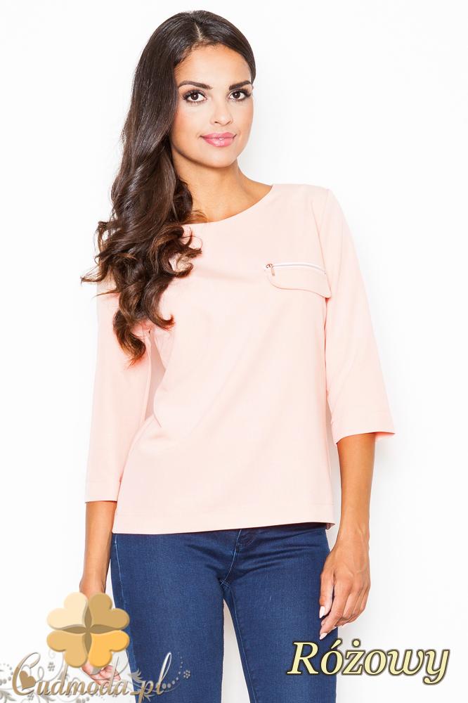 CM2086 Stylowa bluzka z zamkiem na piersi - różowa
