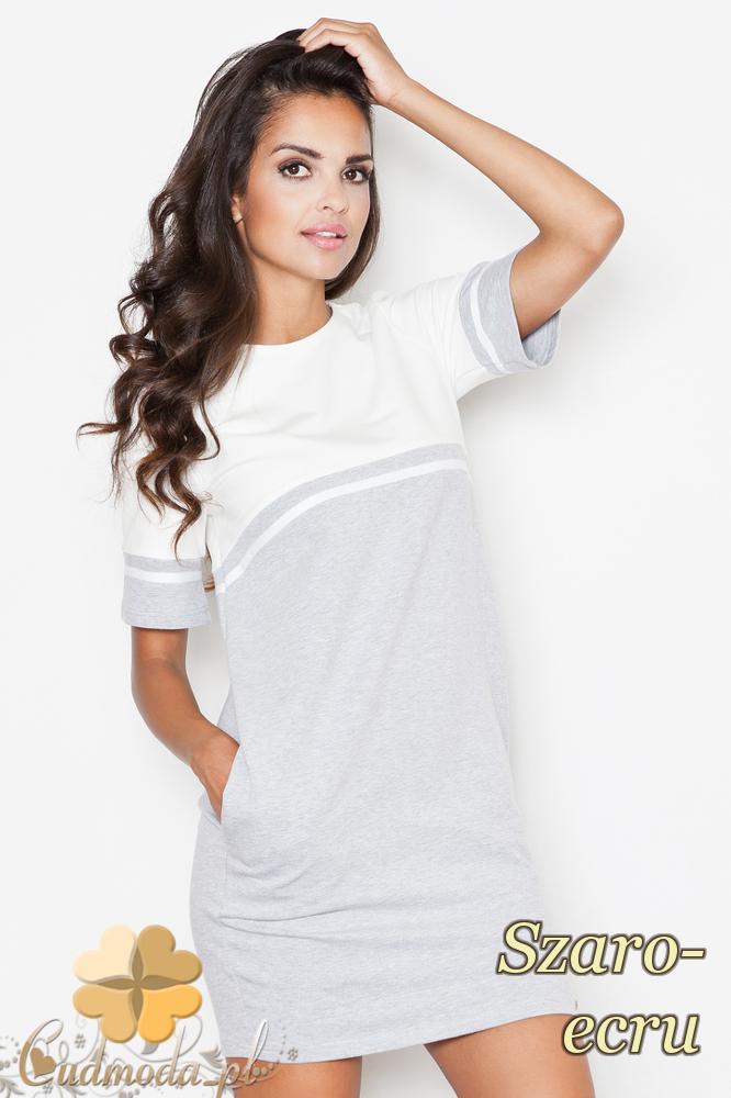 CM2089 Dwukolorowa sukienka z krótkim rękawem - szaro-ecru