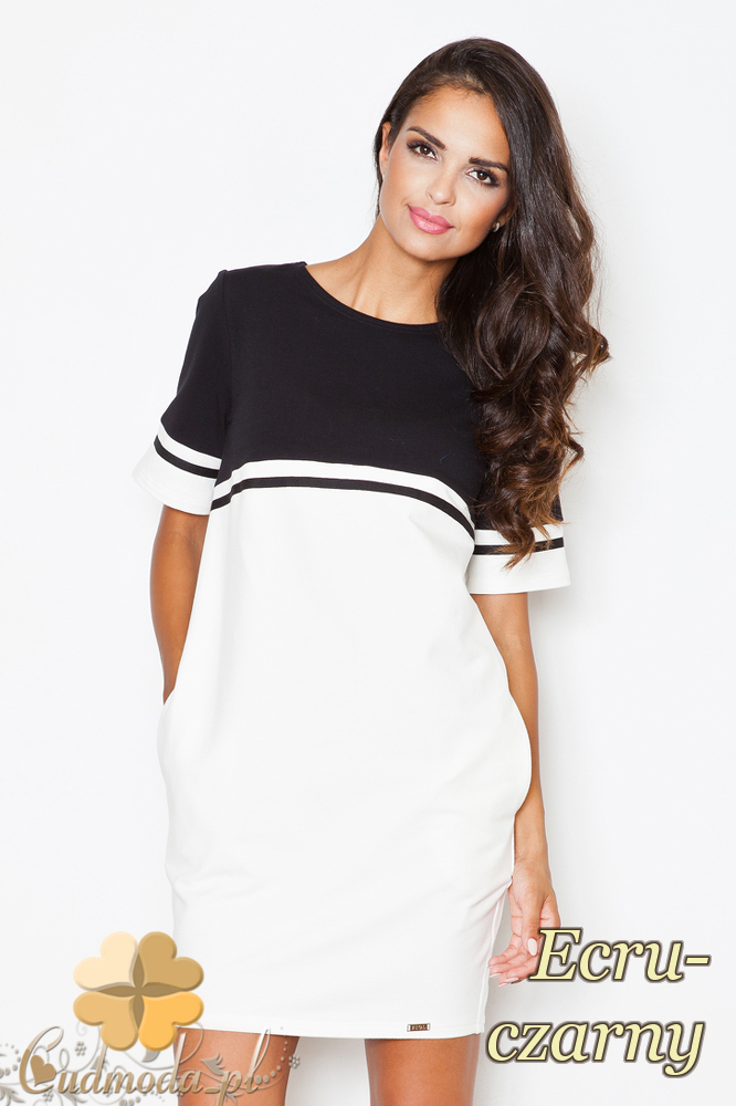 CM2089 Dwukolorowa sukienka z krótkim rękawem - ecru-czarna