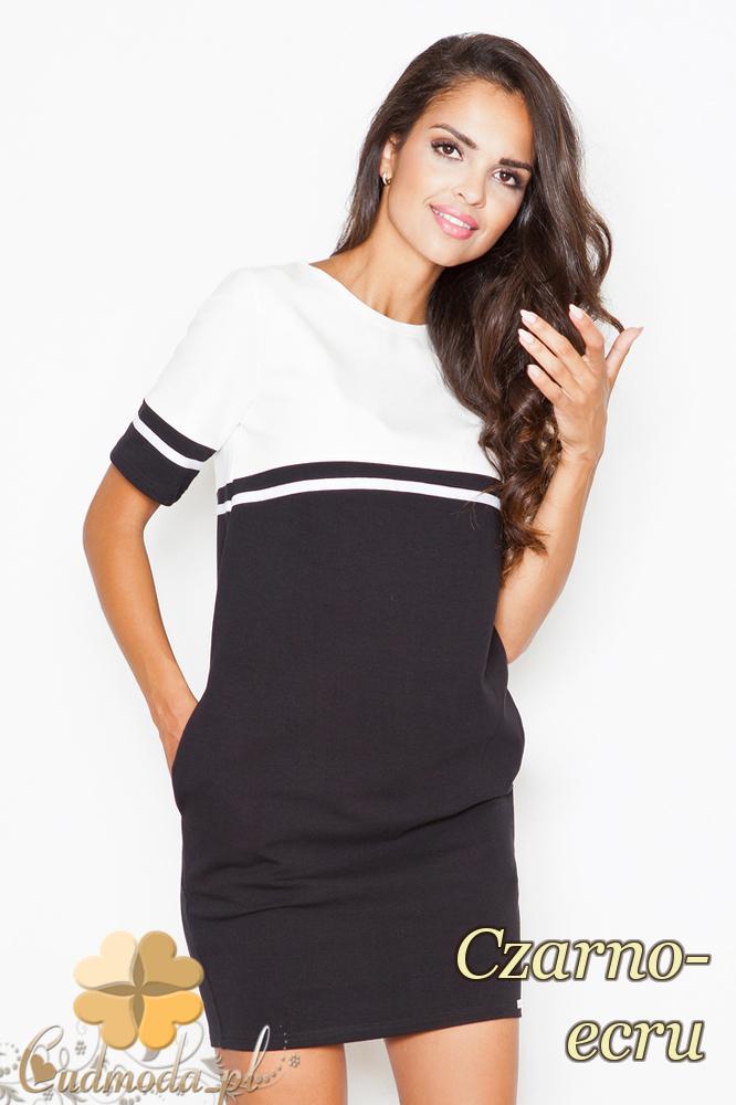 CM2089 Dwukolorowa sukienka z krótkim rękawem - czarno-ecru