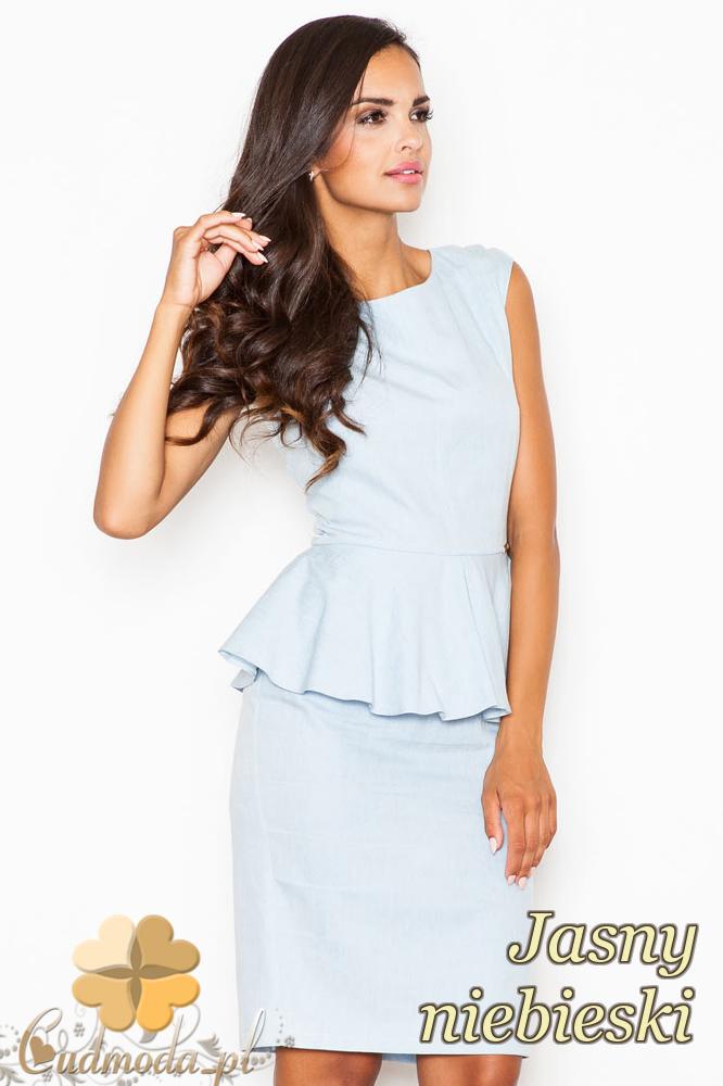 CM2090 Elegancka sukienka baskinka bez rękawów - jasnoniebieska