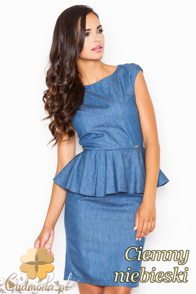 CM2090 Elegancka sukienka baskinka bez rękawów - ciemnoniebieska