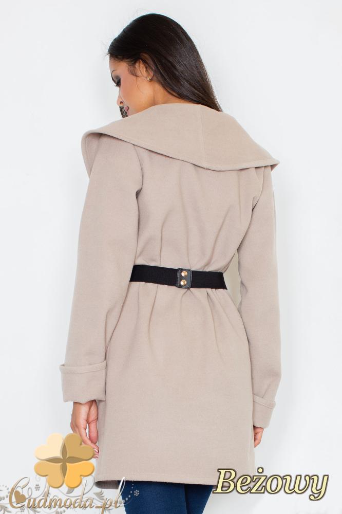 CM2095 Ciepły niezapinany płaszcz z paskiem - beżowy