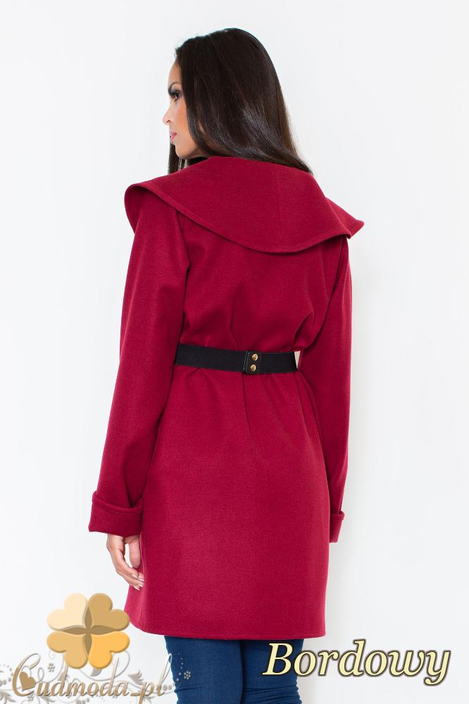 CM2095 Ciepły niezapinany płaszcz z paskiem - bordowy