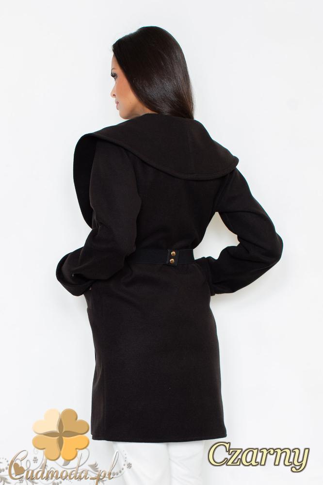 CM2095 Ciepły niezapinany płaszcz z paskiem - czarny