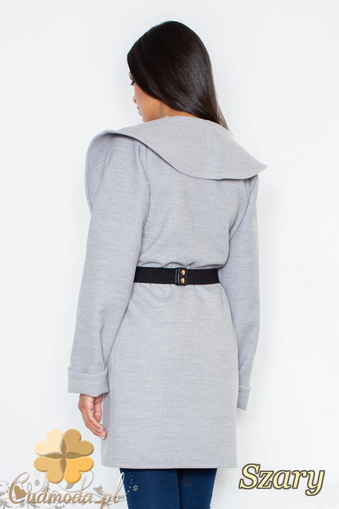 CM2095 Ciepły niezapinany płaszcz z paskiem - szary