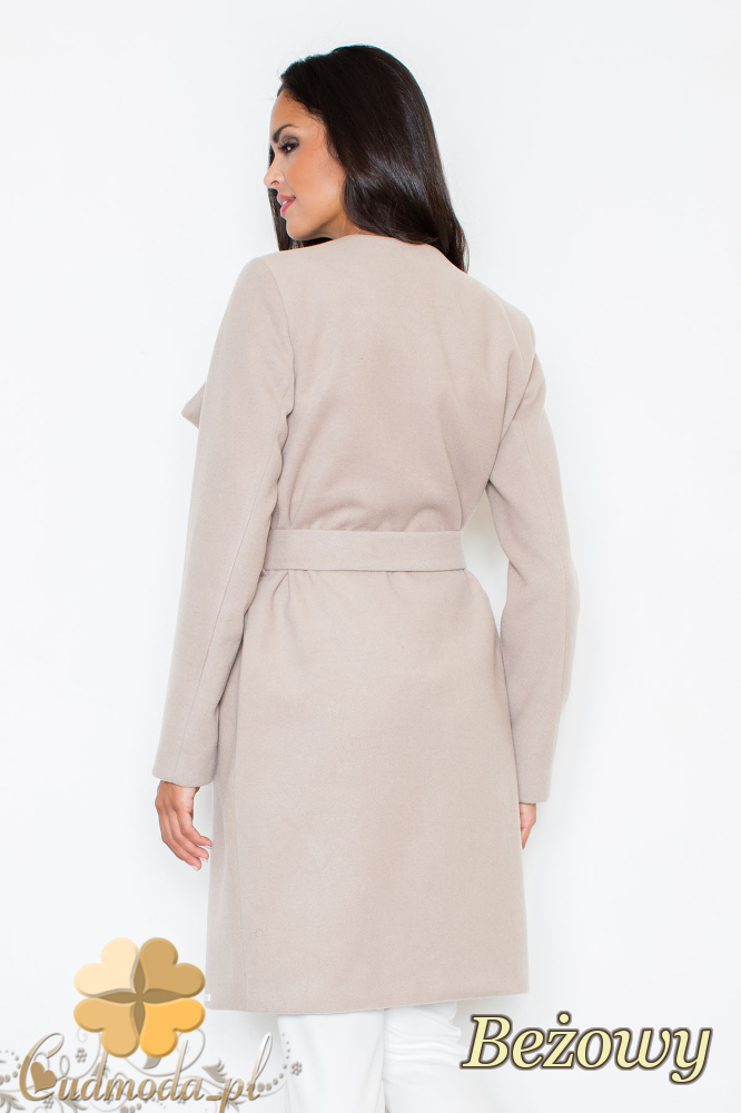CM2096 Długi flauszowy przewiązany płaszcz - beżowy