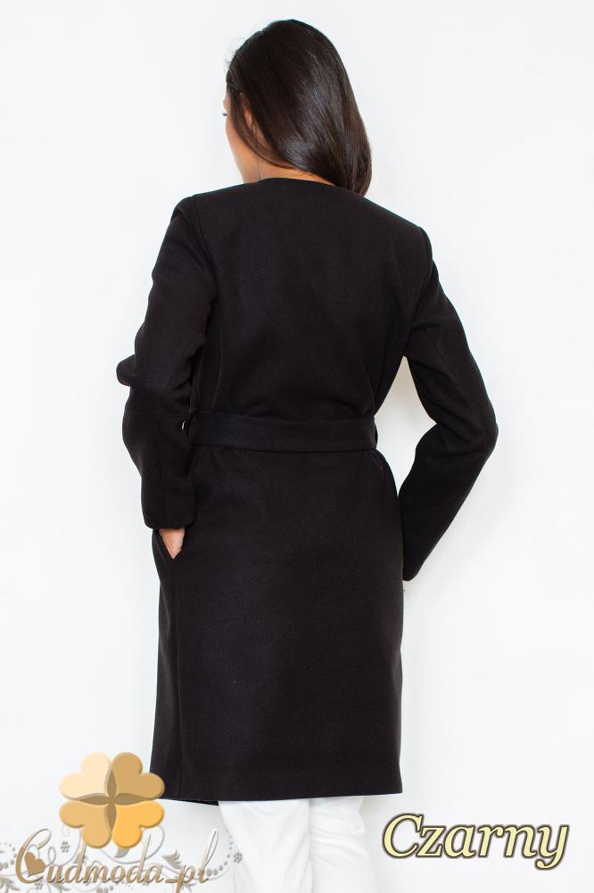 CM2096 Długi flauszowy przewiązany płaszcz - czarny