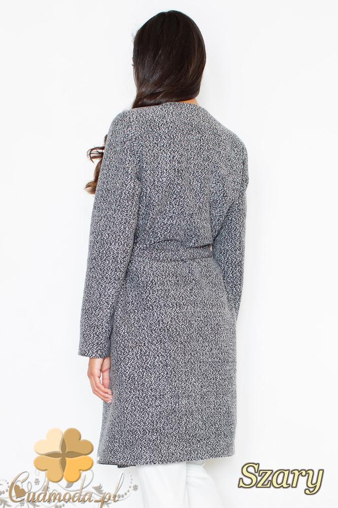 CM2096 Długi flauszowy przewiązany płaszcz - szary