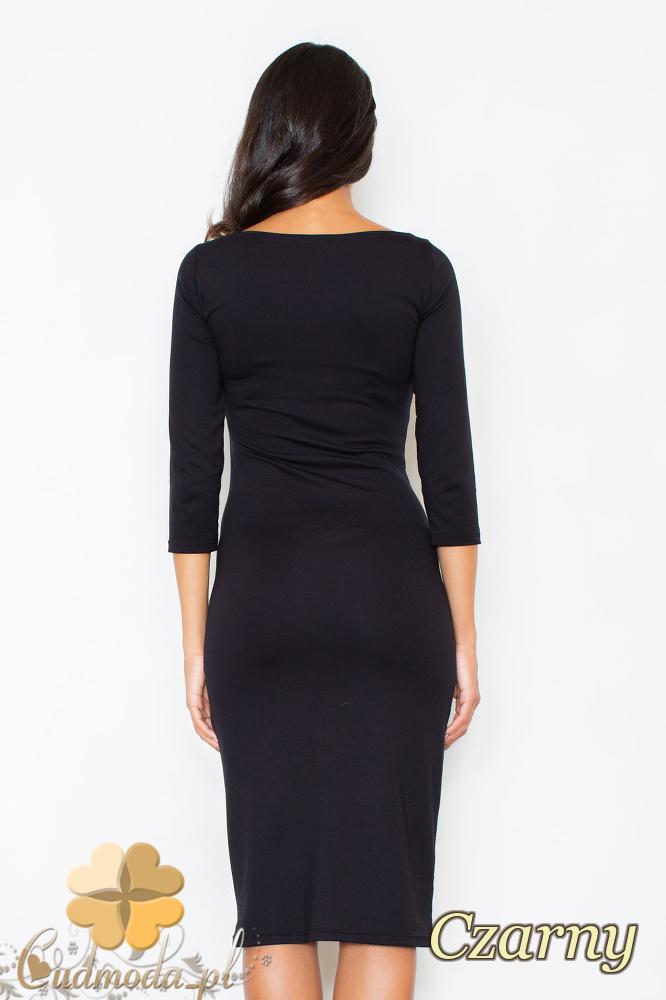 CM2099 Wieczorowa sukienka z wzorem na przodzie - czarna