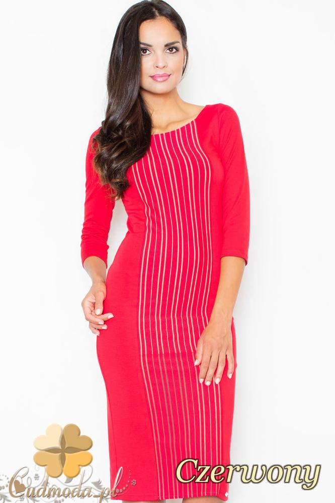 CM2099 Wieczorowa sukienka z wzorem na przodzie - czerwona
