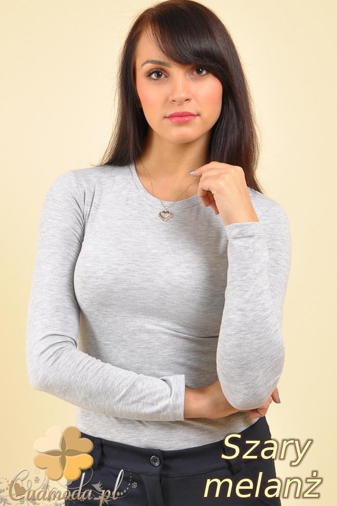CM0009 Gładka bluzka z długim rękawem - szary melanż