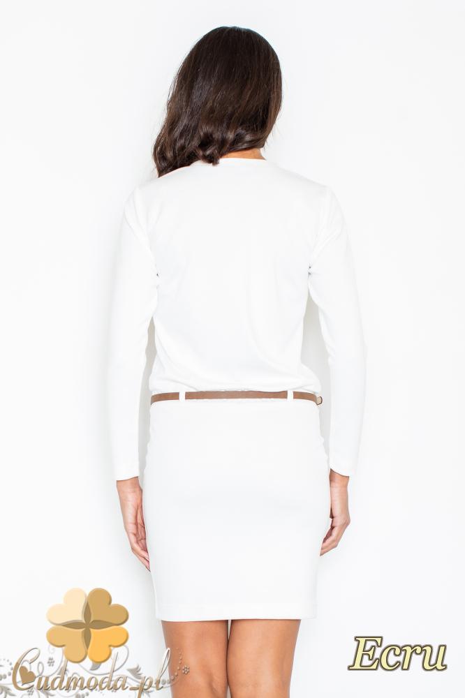 CM2102 Kobieca sukienka z długim rękawem - ecru
