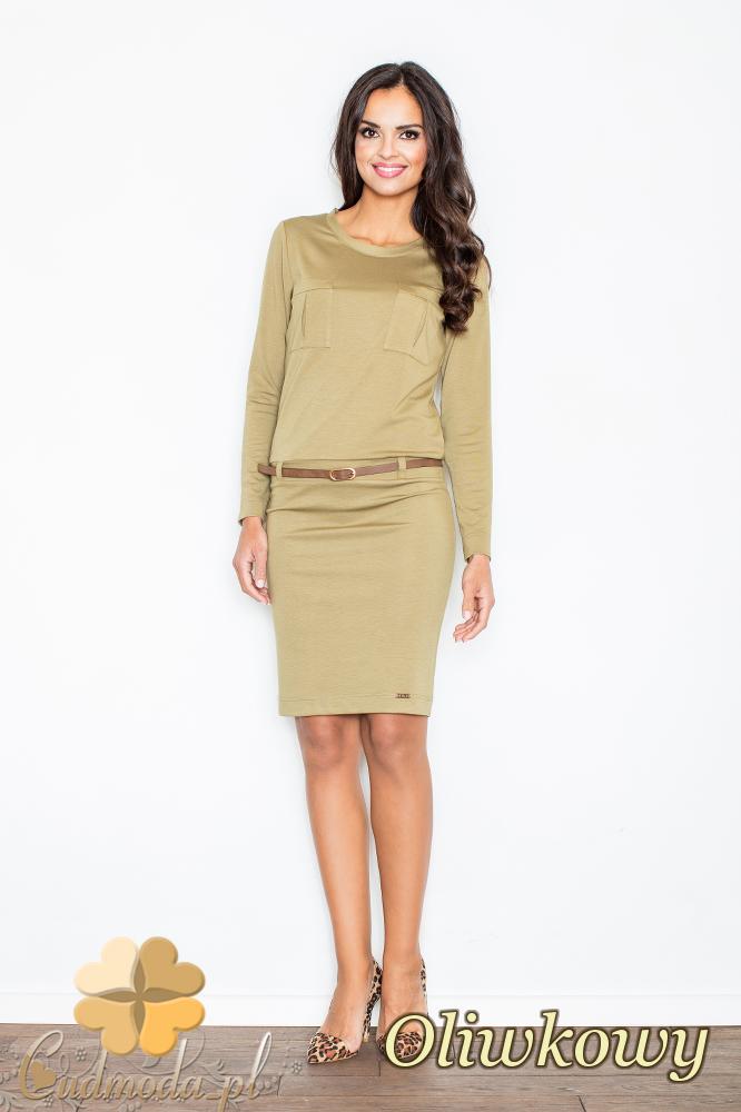 CM2102 Kobieca sukienka z długim rękawem - oliwkowa