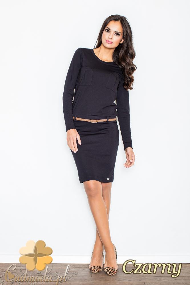 CM2102 Kobieca sukienka z długim rękawem - czarna