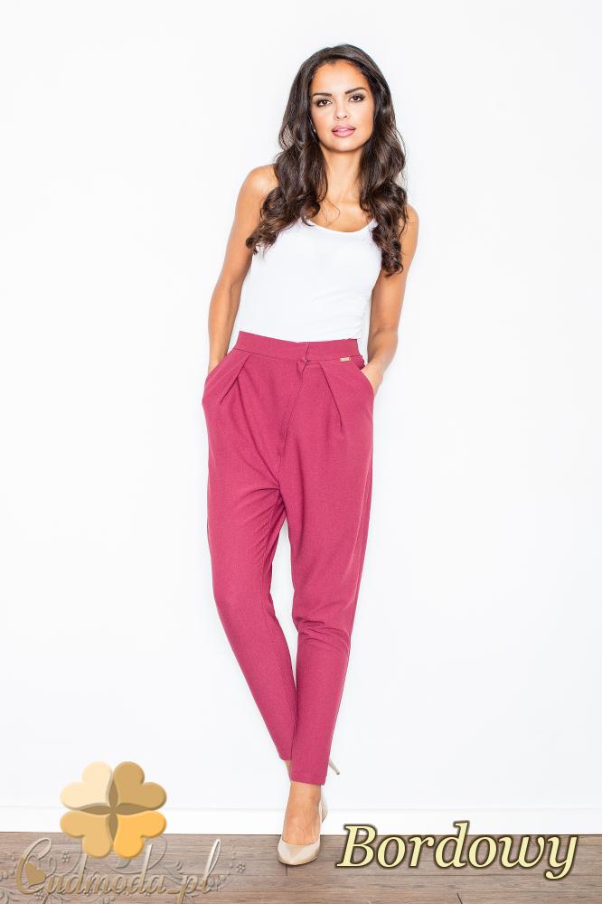 CM2103 Eleganckie spodnie ze zwężanymi nogawkami - bordowe