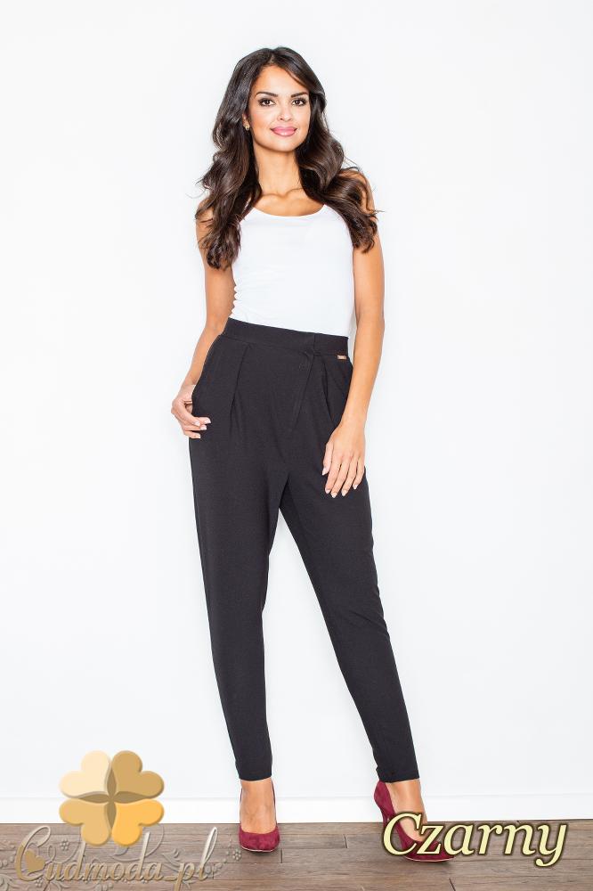 CM2103 Eleganckie spodnie ze zwężanymi nogawkami - czarne