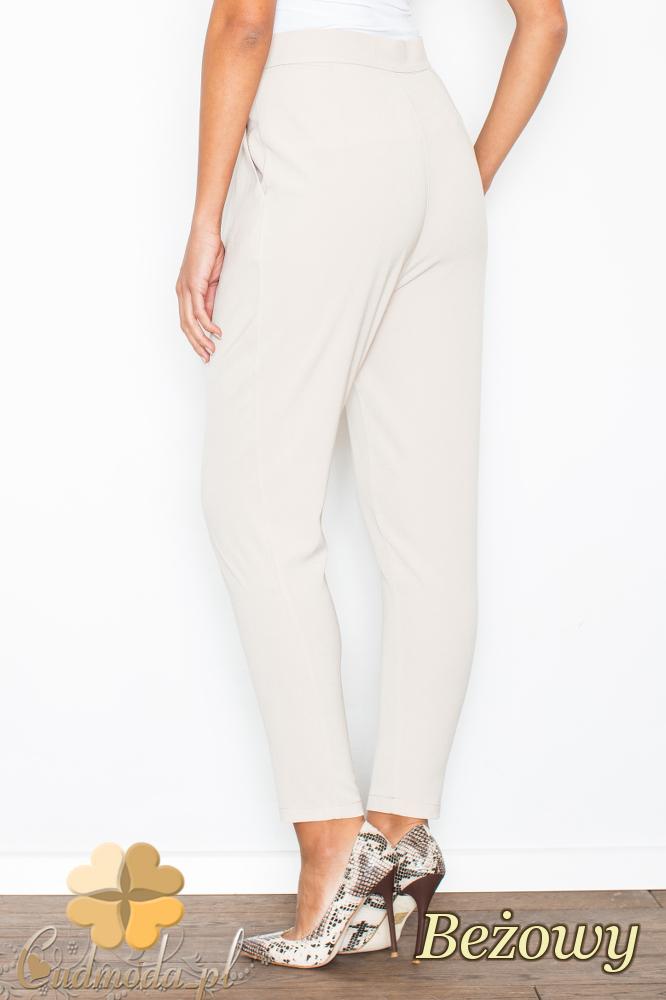 CM2103 Eleganckie spodnie ze zwężanymi nogawkami - beżowe