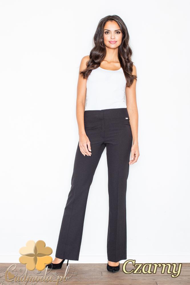 CM2104 Klasyczne spodnie damskie z szeroką nogawką - czarne