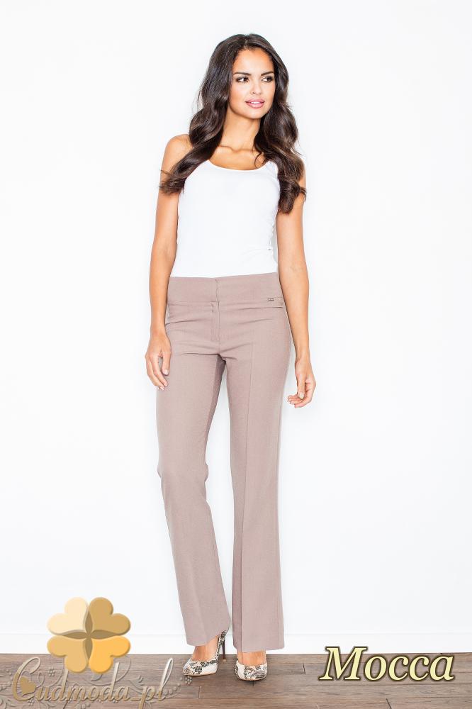 CM2104 Klasyczne spodnie damskie z szeroką nogawką - mocca