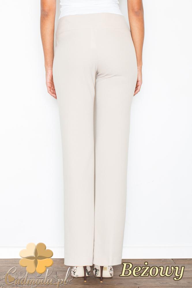 CM2104 Klasyczne spodnie damskie z szeroką nogawką - beżowe