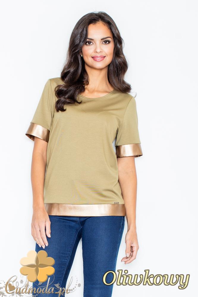CM2105 Nowoczesna bluzka z krótkim rękawem i złotymi wykończeniami - oliwkowa