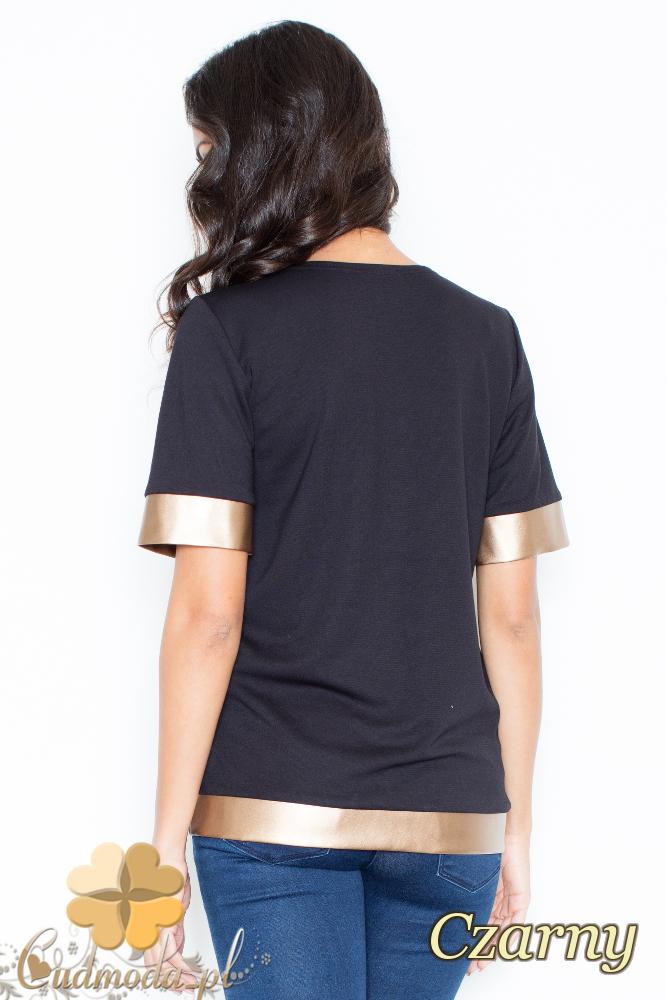 CM2105 Nowoczesna bluzka z krótkim rękawem i złotymi wykończeniami - czarna