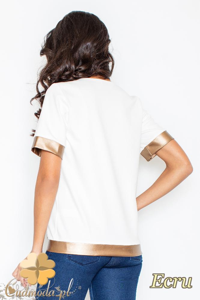 CM2105 Nowoczesna bluzka z krótkim rękawem i złotymi wykończeniami - ecru