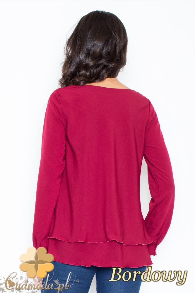 CM2108 Kobieca bluzka z podwójną falbanką - bordowa