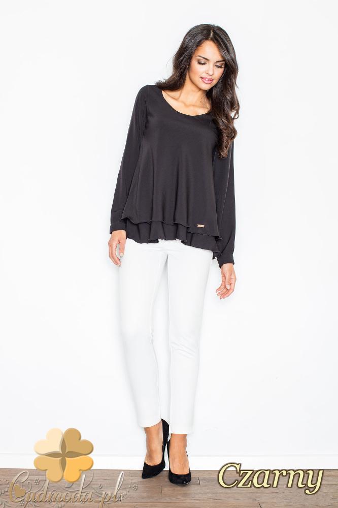 CM2108 Kobieca bluzka z podwójną falbanką - czarna