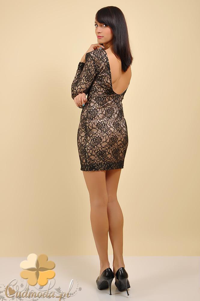 CM0167 Elegancka sukienka koronkowa z rękawem