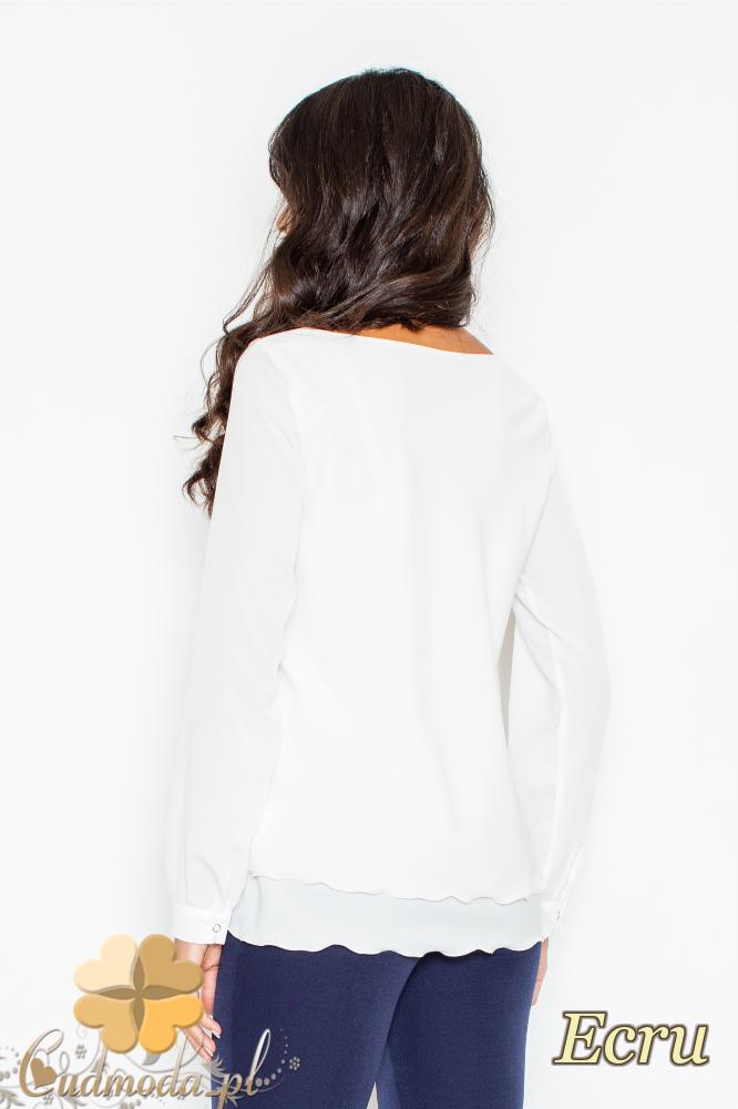 CM2108 Kobieca bluzka z podwójną falbanką - ecru