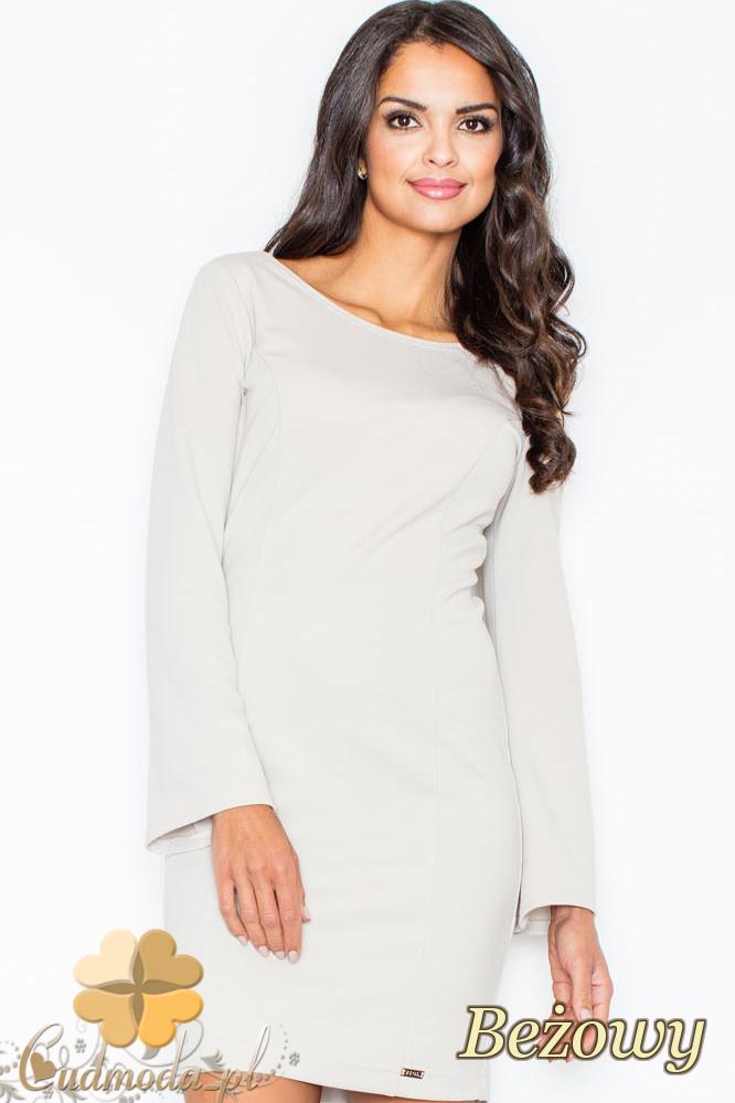 CM2109 Ołówkowa sukienka mini z długim rękawem - beżowa