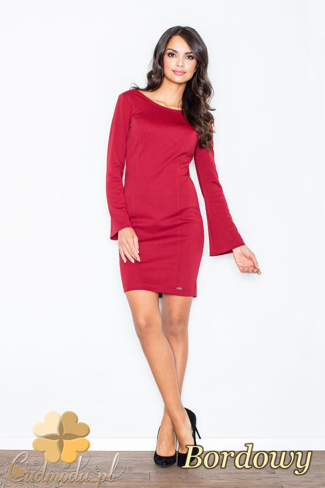 CM2109 Ołówkowa sukienka mini z długim rękawem - bordowa