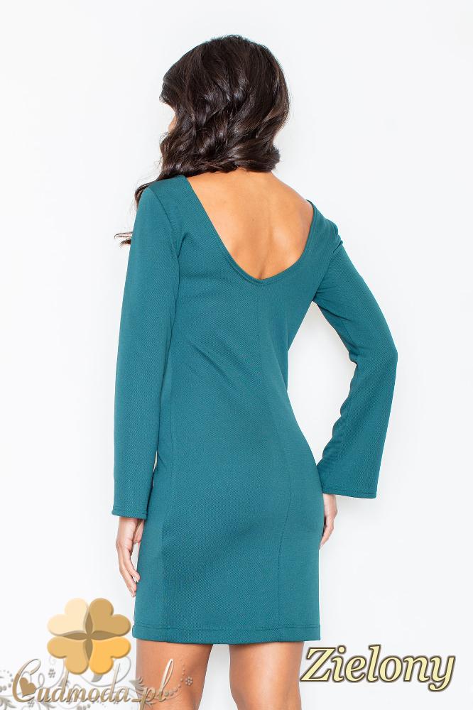 CM2109 Ołówkowa sukienka mini z długim rękawem - zielona