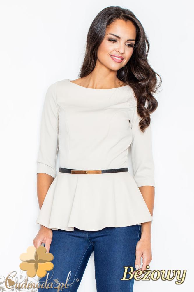 CM2110 Kobieca bluzka baskinka z ozdobnym paskiem - beżowa