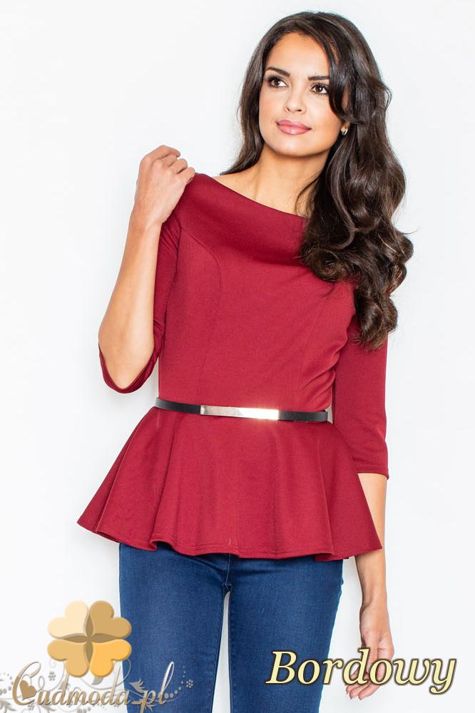 CM2110 Kobieca bluzka baskinka z ozdobnym paskiem - bordowa