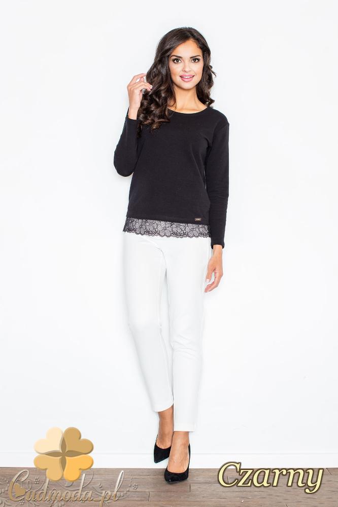 CM2113 Klasyczna bluzka damska z koronką - czarna