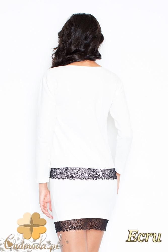 CM2113 Klasyczna bluzka damska z koronką - ecru