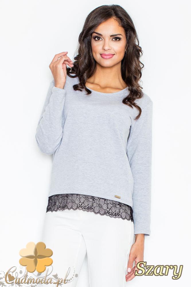 CM2113 Klasyczna bluzka damska z koronką - szara