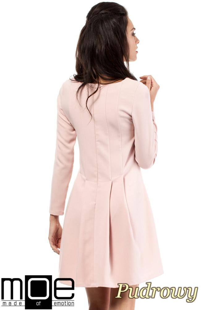 CM2053 Wizytowa sukienka na wesele studniówkę - pudrowa