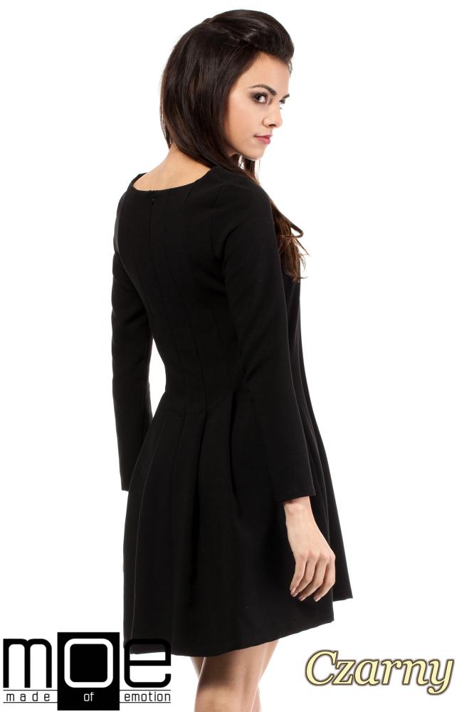 CM2053 Wizytowa sukienka na wesele studniówkę - czarna