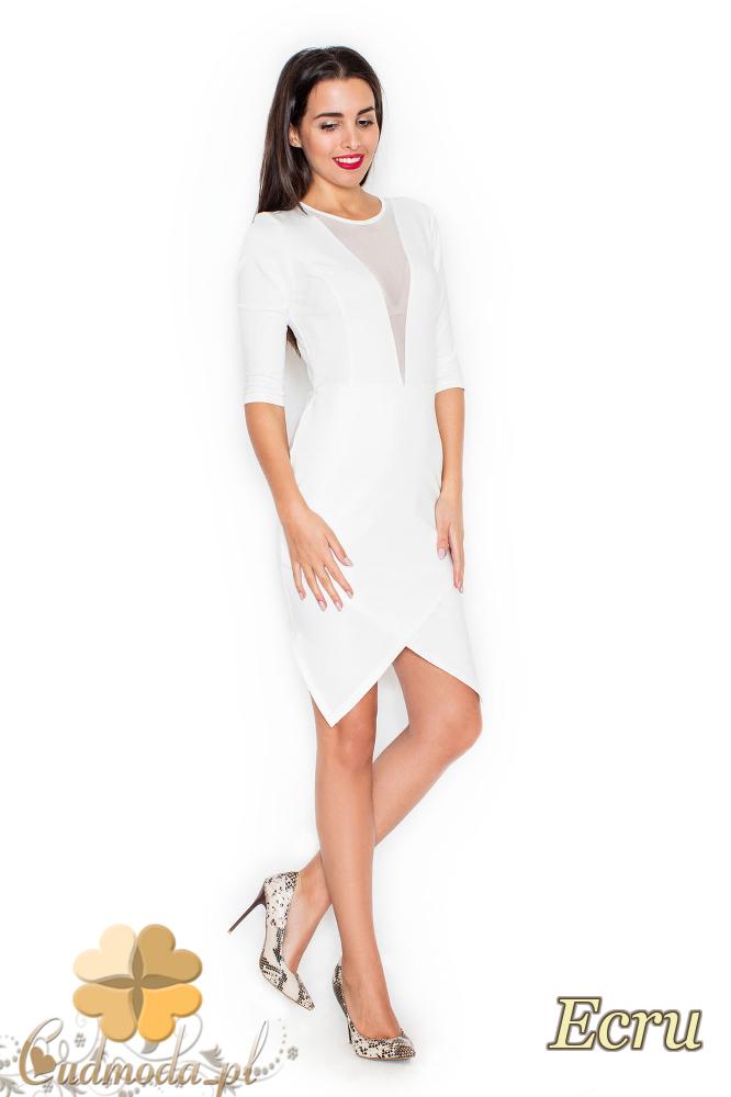 CM2117 Sukienka z zakładką i szyfonową wstawką - ecru