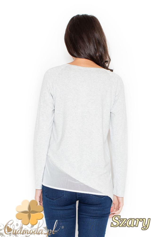 CM2118 Asymetryczna bluzka z szyfonową wstawką - szara