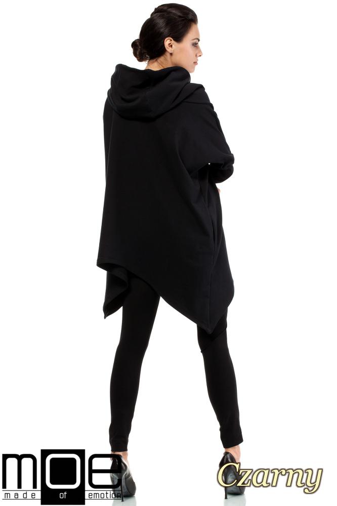 CM2121 Asymetryczna peleryna damska z kapturem - czarna