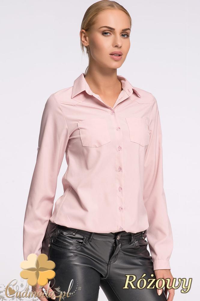 CM2135 Elegancka koszula zapinana na guziki - różowa