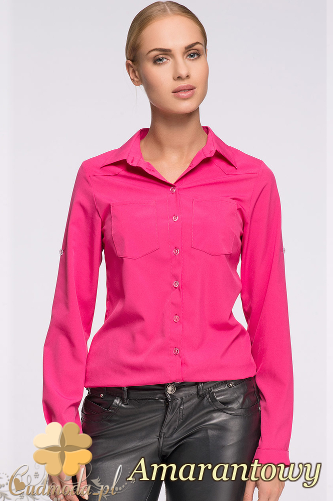 CM2135 Elegancka koszula zapinana na guziki - amarantowy OUTLET