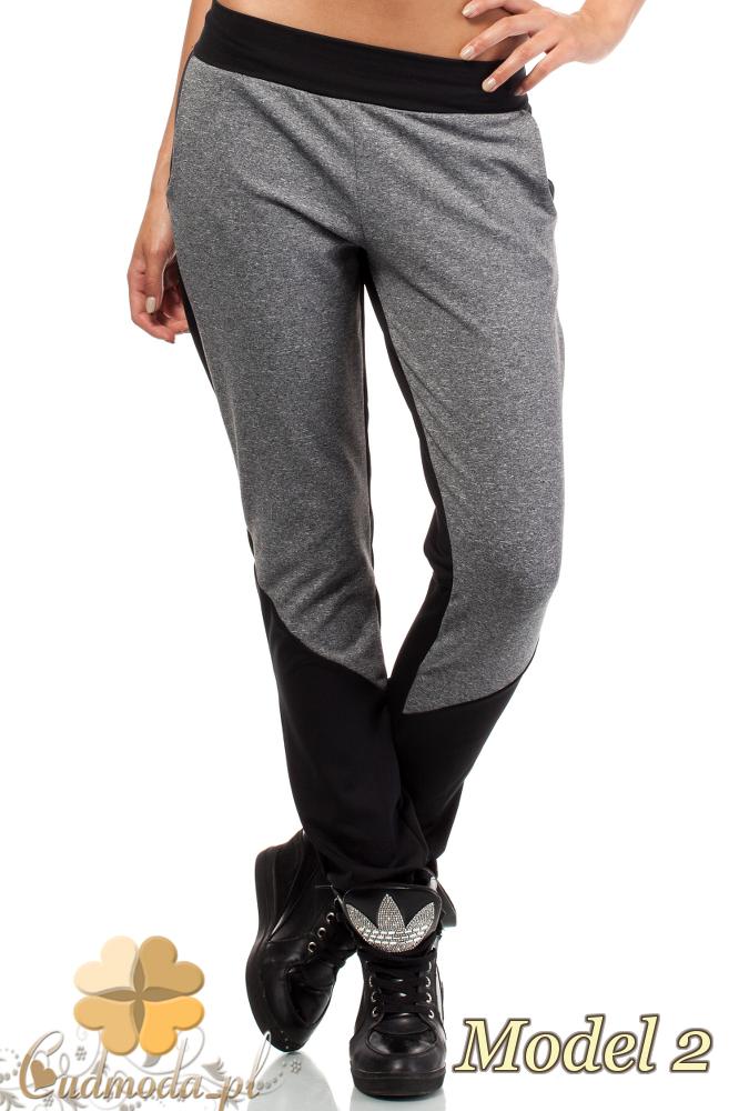 CM1844 Dwukolorowe sportowe spodnie damskie - model 2